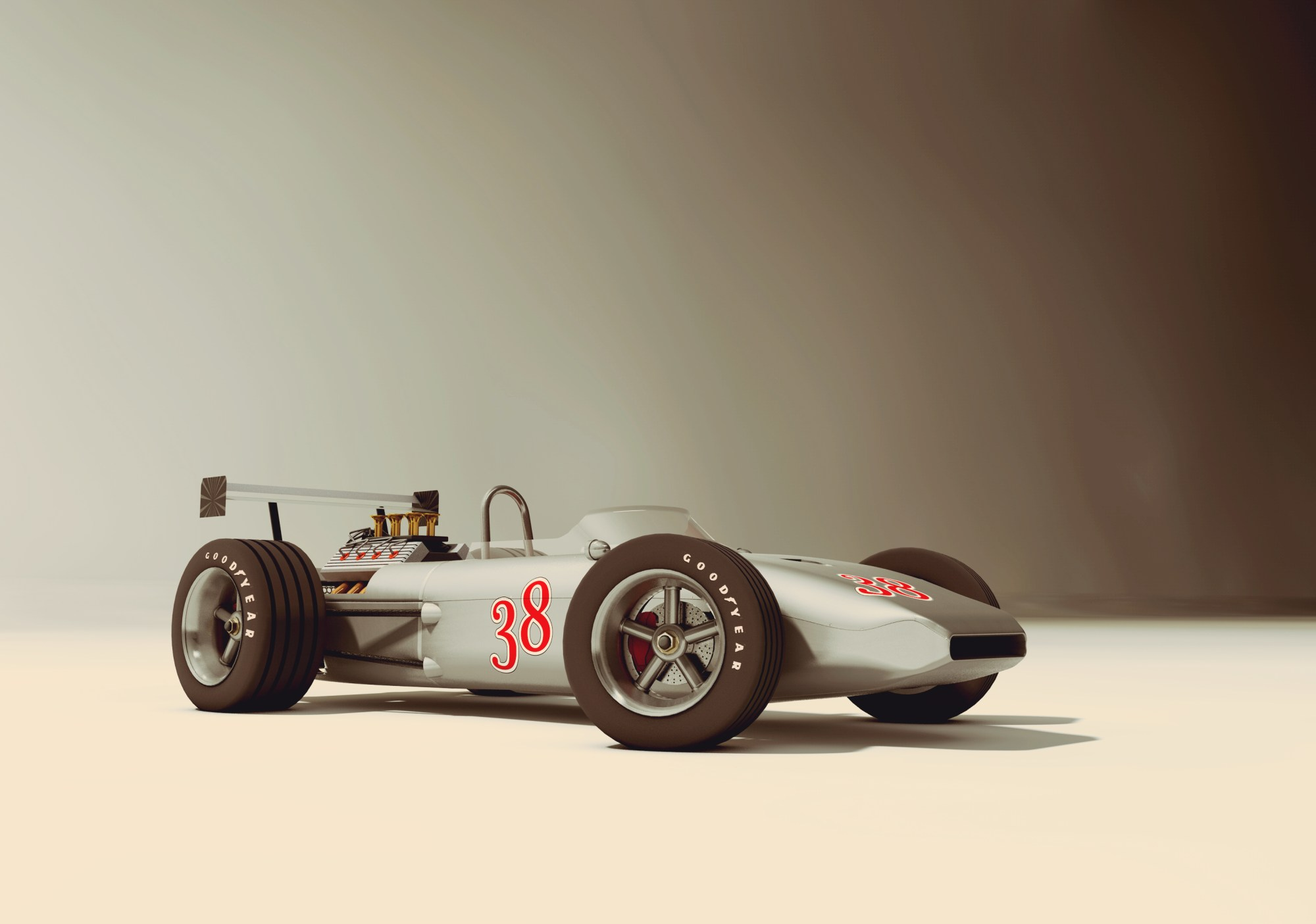hight resolution of race car old style 3d model