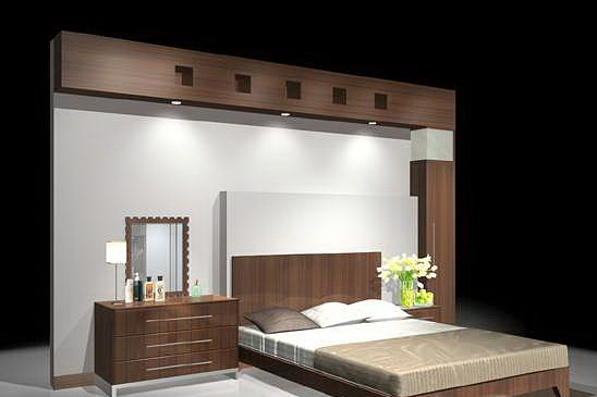 3D model bedroom Bed With Back wall  CGTrader