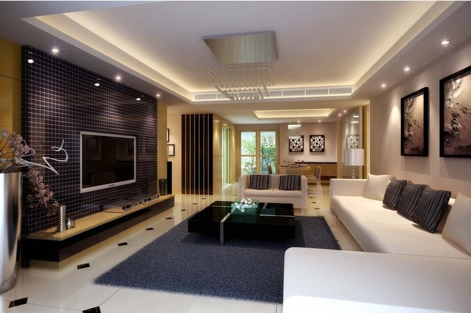 Fall Ceiling Wallpaper Modern Living Dining Room Fully Furnished And Decorated