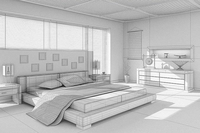 3D Asian Interior Design Bedroom CGTrader