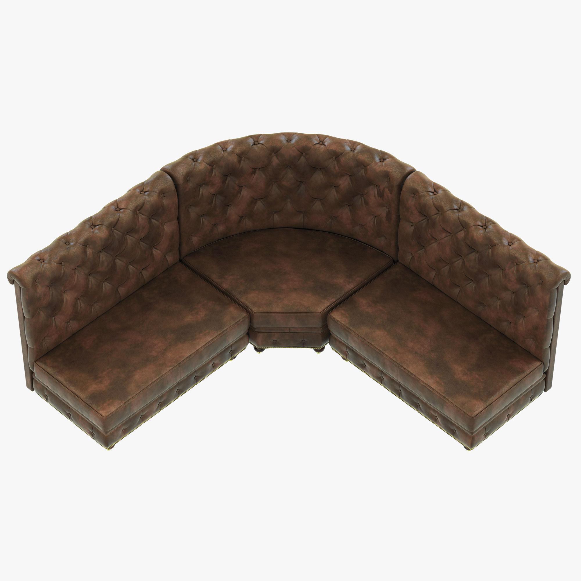 restoration hardware kensington sofa 106 bryant leather l banquette 3d