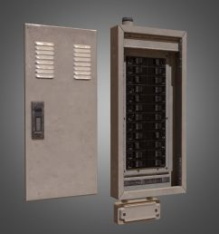 electrical fuse box pbr game ready low poly 3d model [ 2048 x 2048 Pixel ]