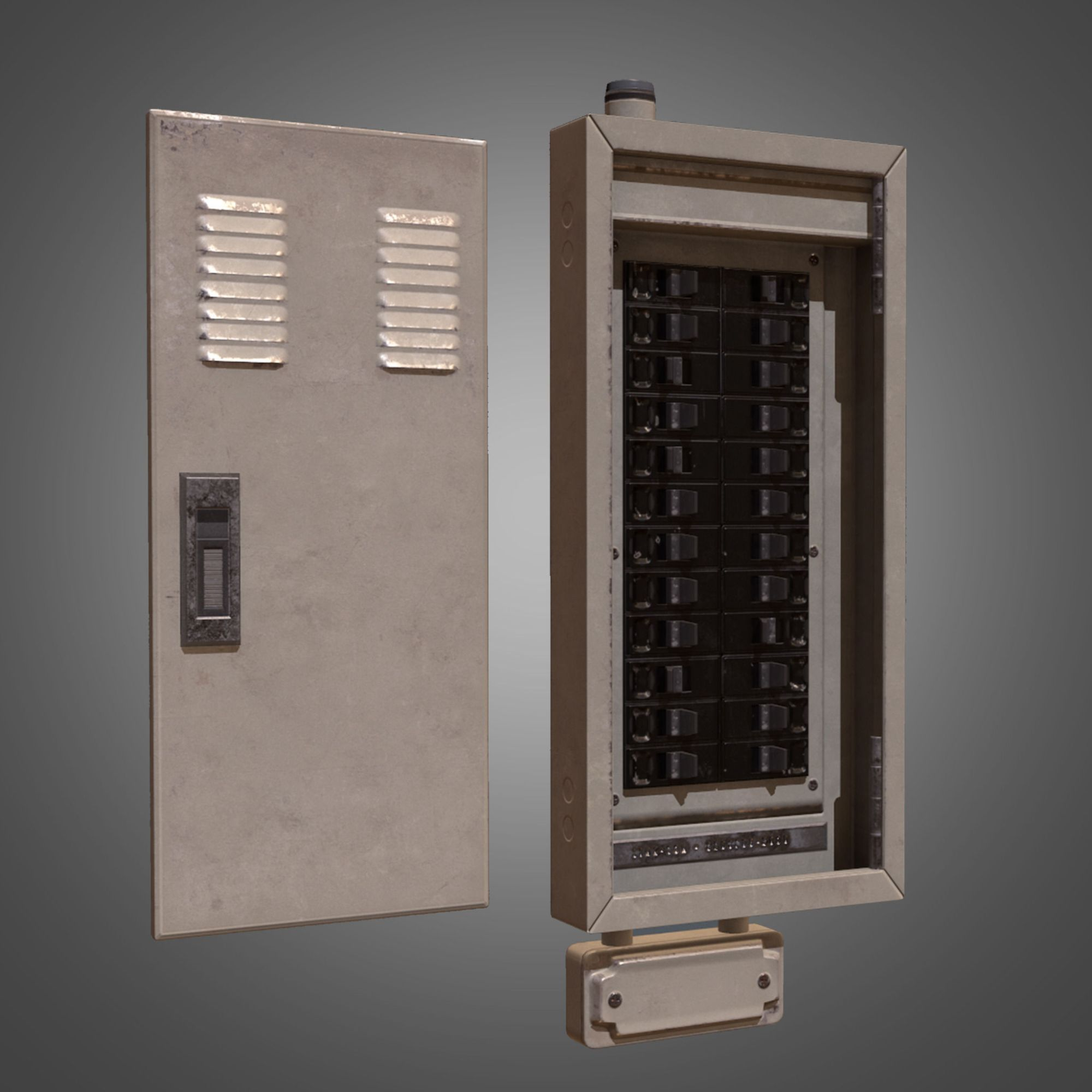 hight resolution of electrical fuse box pbr game ready low poly 3d model