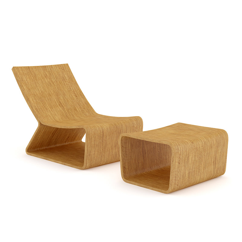 wooden lounge chair big 5 camping chairs 3d cgtrader model