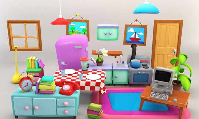 Cartoon Furniture Package 2 3D asset  CGTrader