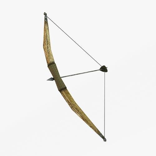 3D model Wooden bow VR / AR / low-poly MAX OBJ 3DS FBX C4D