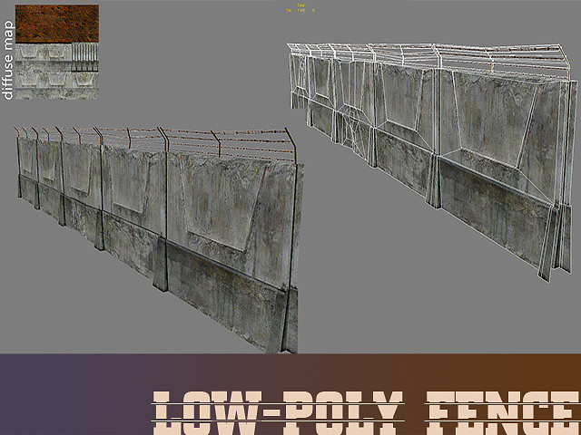 Lowpoly Fence 3D CGTrader