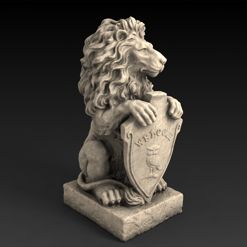 3D Models Garden Statue Lion With Welcome  3D Model 3D