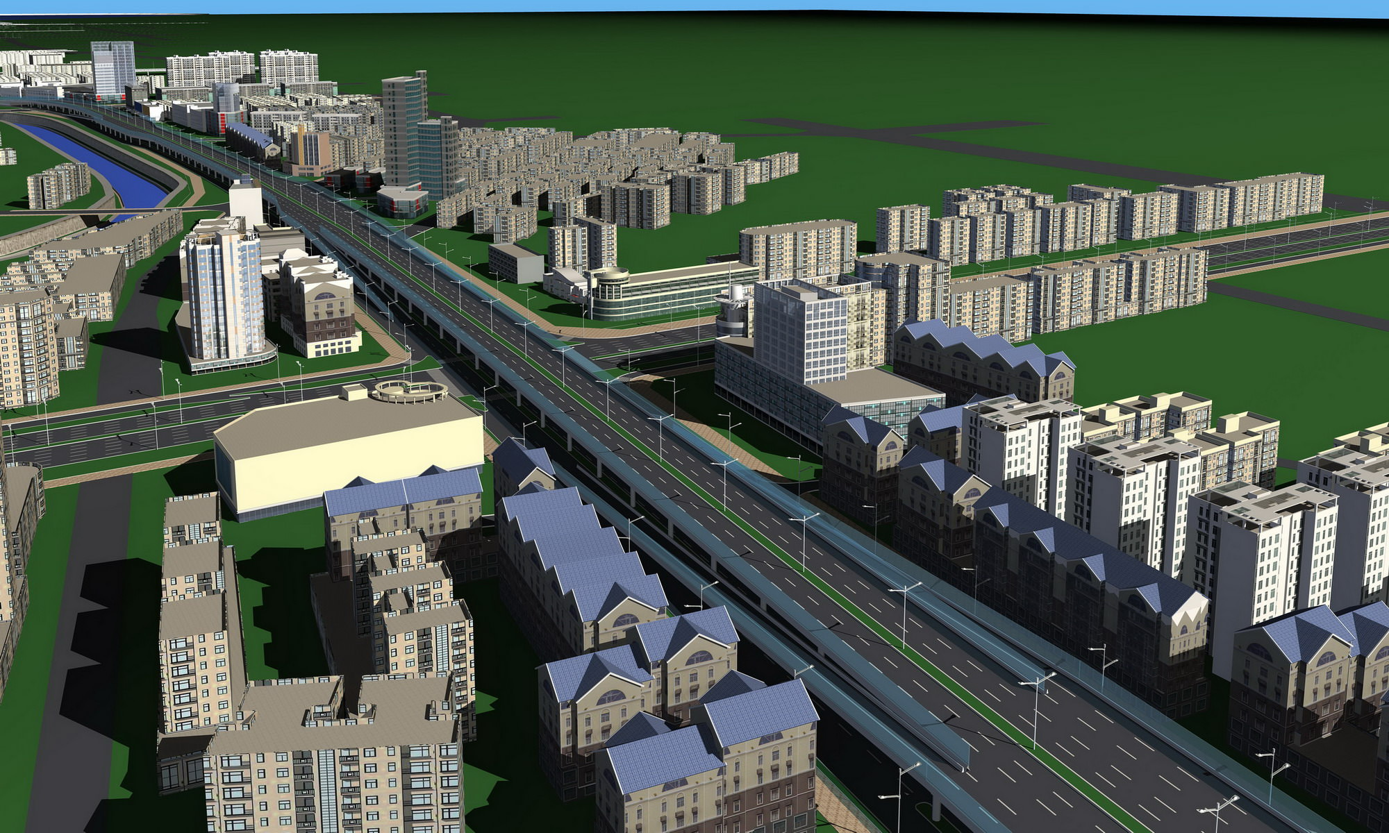 3d urban designed exotic town with towers | cgtrader