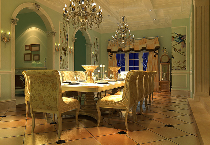 Grand Dining Room with Eminent Chandeliers 3D model MAX