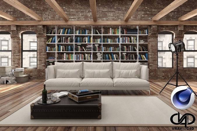 Loft Living Room C4D Vray 3D model  CGTrader