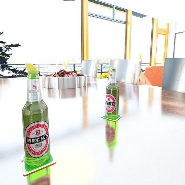 Becks Beer 6 Bottles Cardboard Pack 3D Model MAX OBJ 3DS