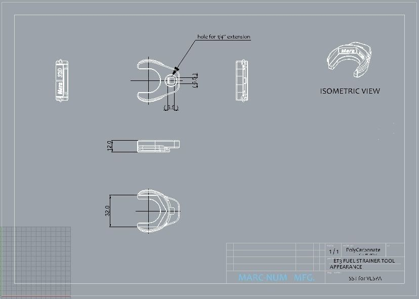 VESPA ET3 FUEL TANK STRAINER TOOL 3D Model 3D printable