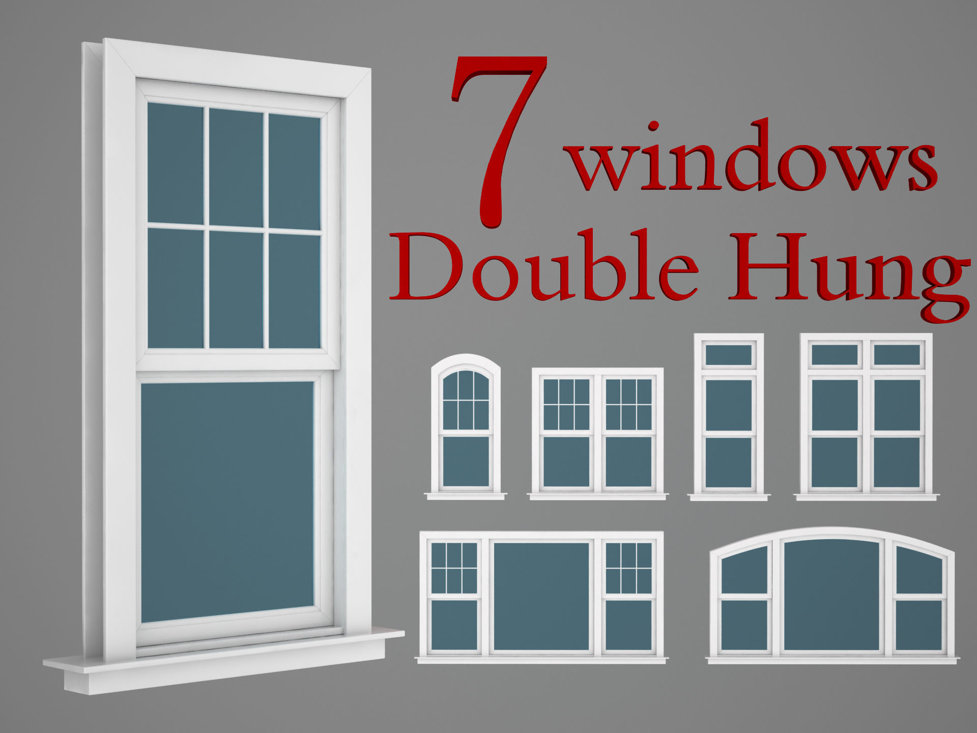 hight resolution of double hung windows wood collection 3d model