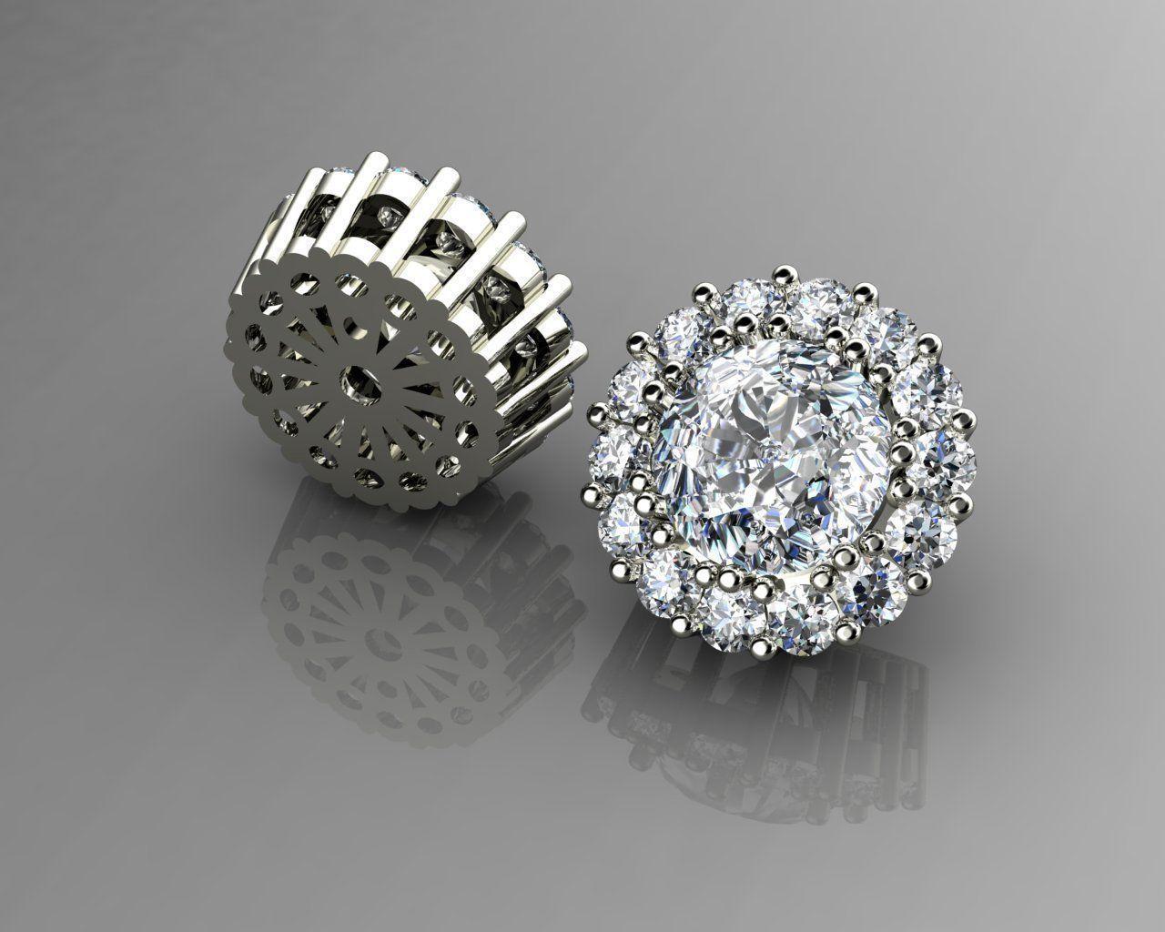 Diamond Earrings Puset 3D Model 3D Printable 3DM