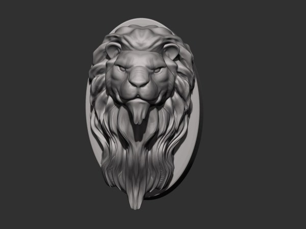 3D Lion Head Sculpture