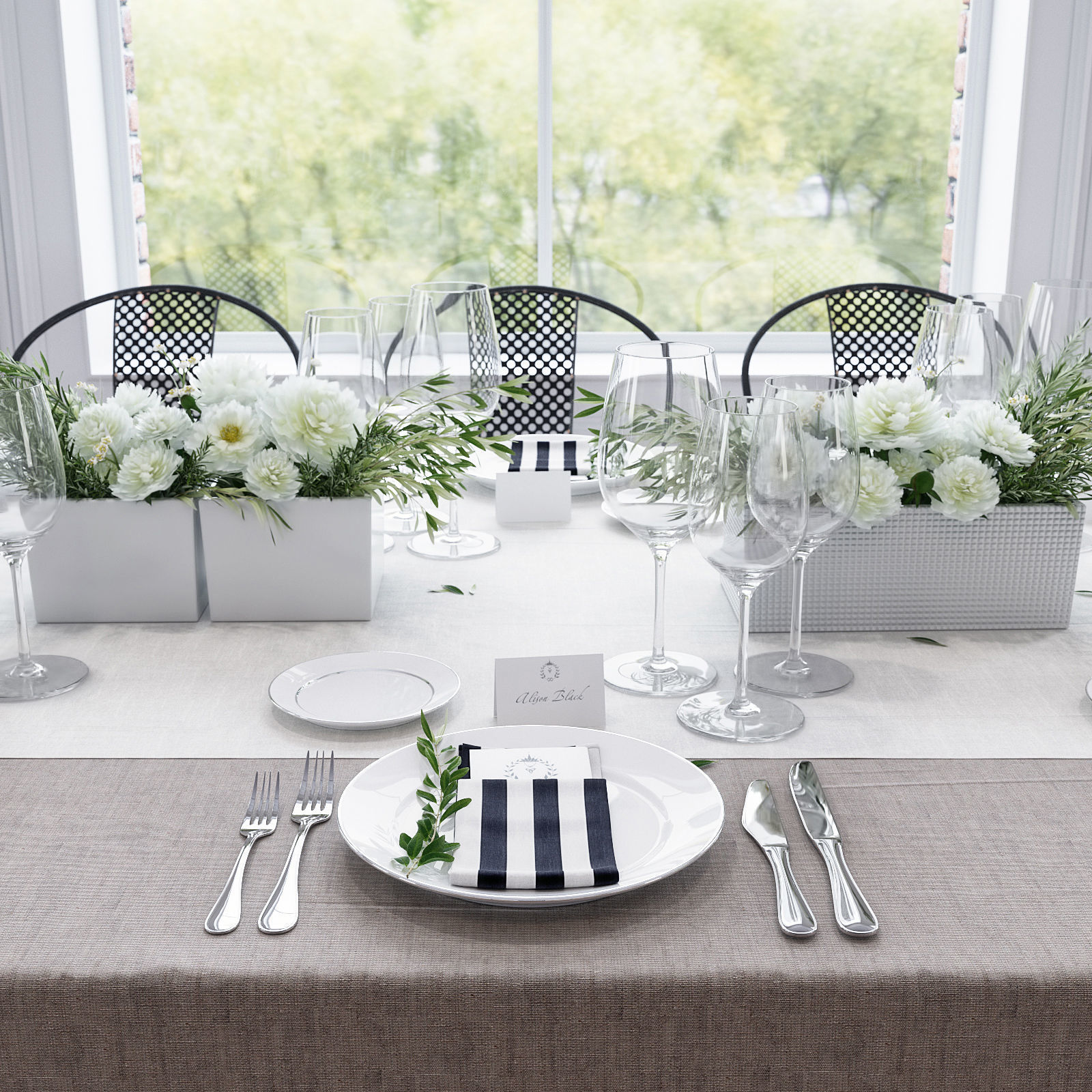 Banquet Table Setting 3D  CGTrader