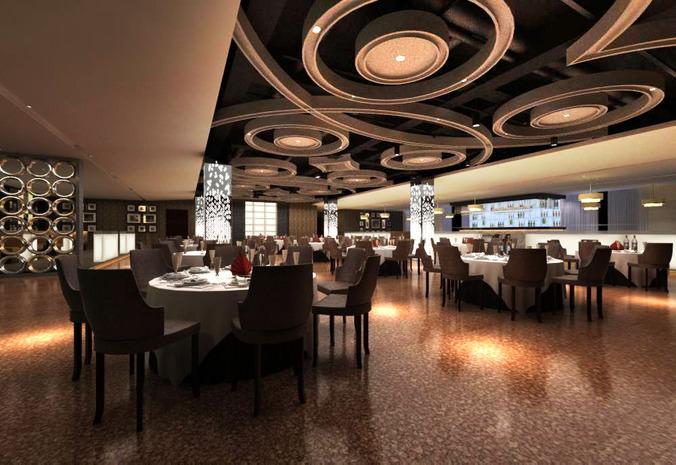 Highend Restaurant with Marble Floor 3D model  CGTrader