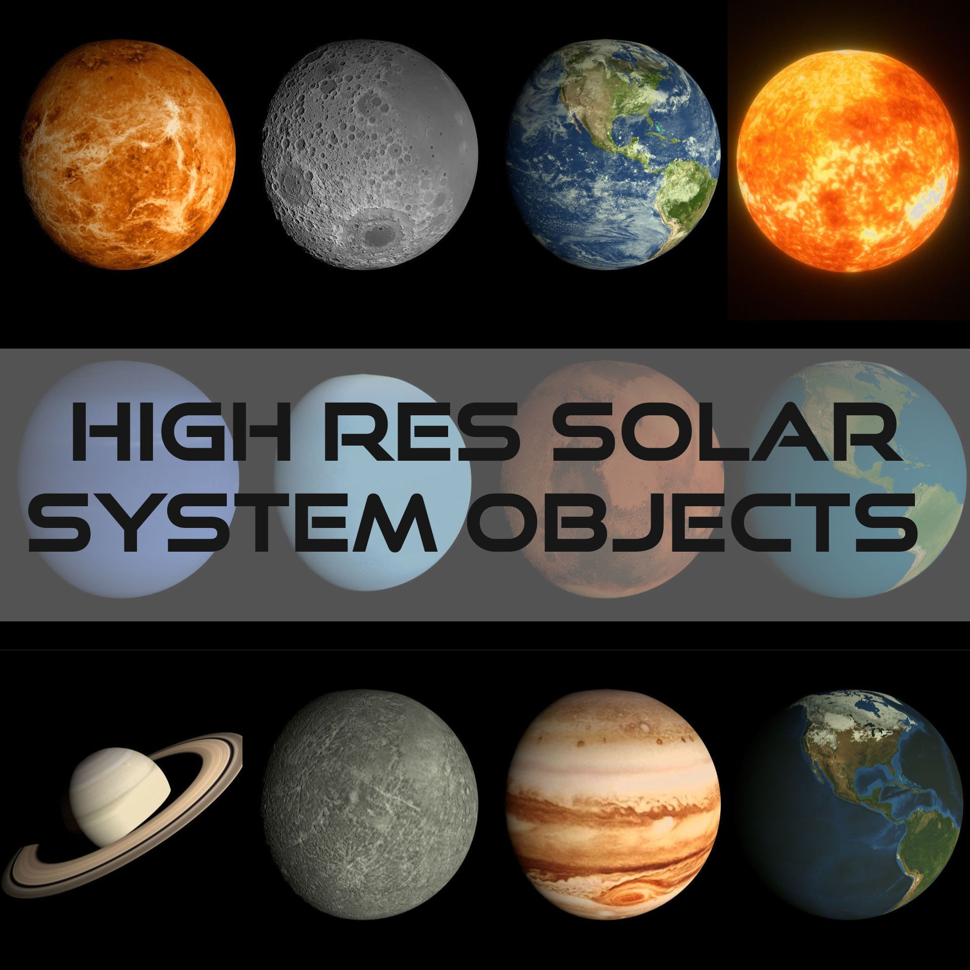 Low Poly Hd Solar System Pack 3d Model
