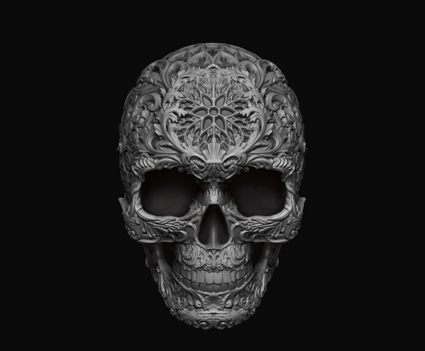 Skull ornamental 3D print model  CGTrader