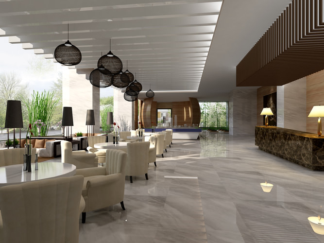 Lobby with Marble Tiled Reception Desk 3D model  CGTrader