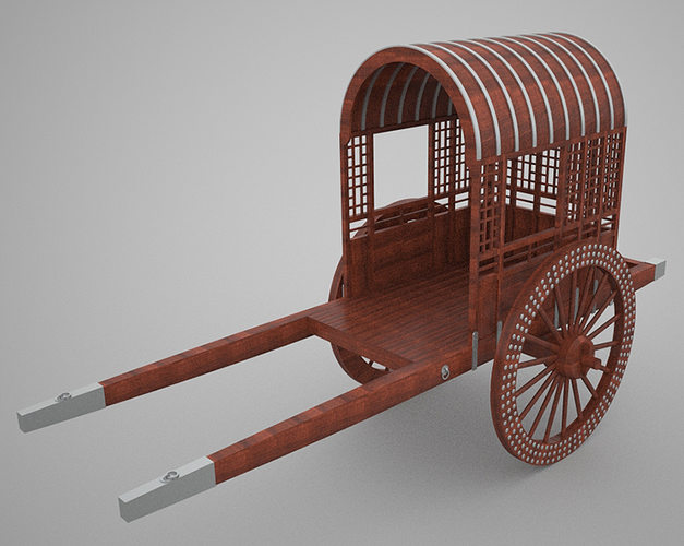 Chinese wooden cart 3D model  CGTrader