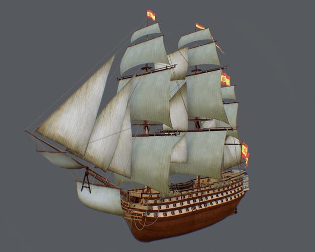 Spanish warship Santisima Trinidad 3D asset  CGTrader