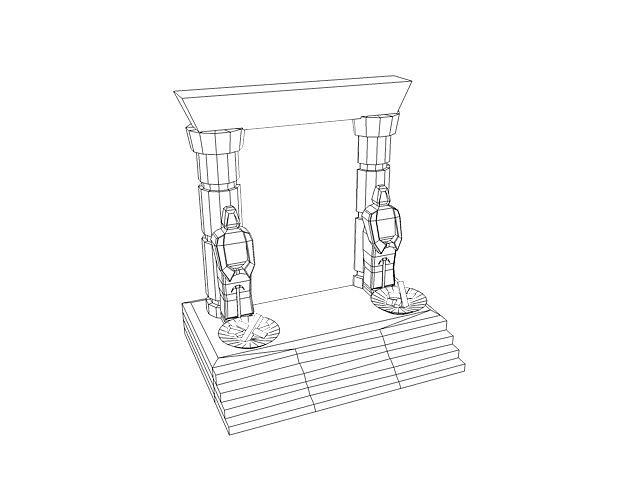 3D model Ancient portal gate VR / AR / low-poly MAX OBJ