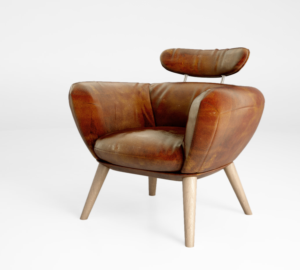 vintage arm chair carters wooden high schots saturn genuine leather armchair 3d model max obj mtl 3
