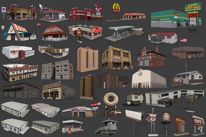 City Buildings Pack 3D Asset Realtime CGTrader