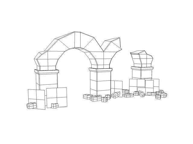 3D model Ancient columns with arch ruins VR / AR / low