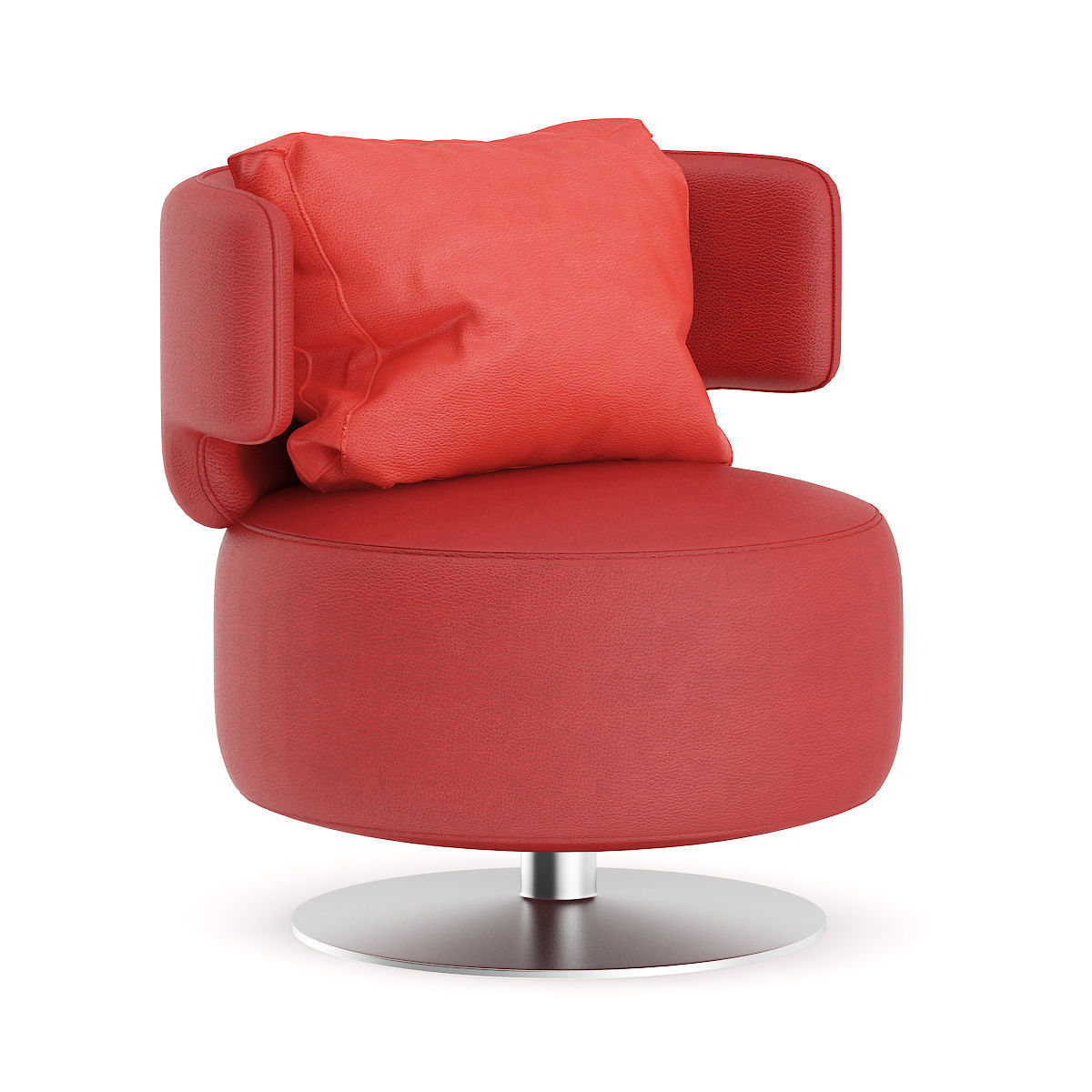 Red Leather Swivel Chair Red Leather Swivel Chair With Pillow 3d Model