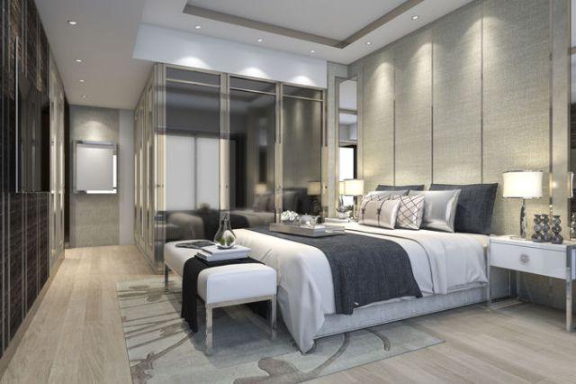 luxury modern bedroom suite in hotel with wardrobe 3D ...