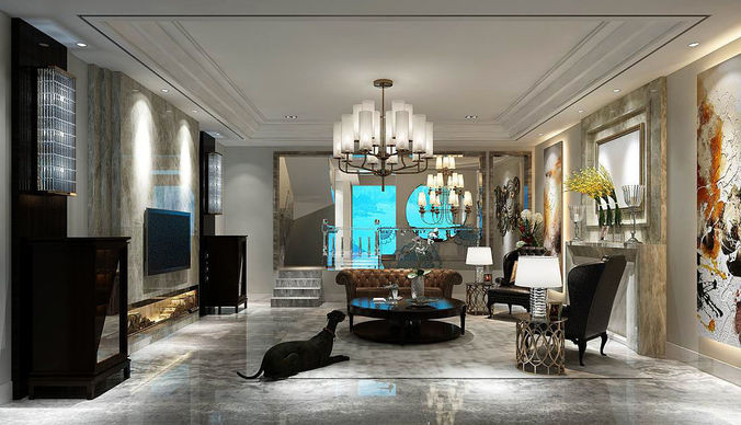 EuropeanStyle Living Room Design 3D wc  CGTrader