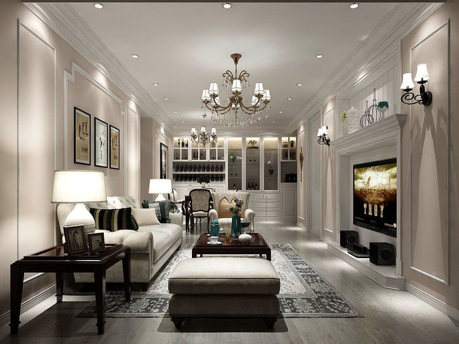 EuropeanStyle Living Room Design 3D kitchen  CGTrader
