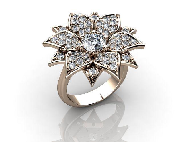 Gold Flower Ring 3D print model