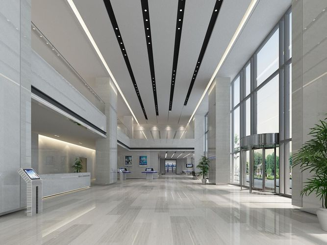 3D asset Banking hall AND office lobby  CGTrader