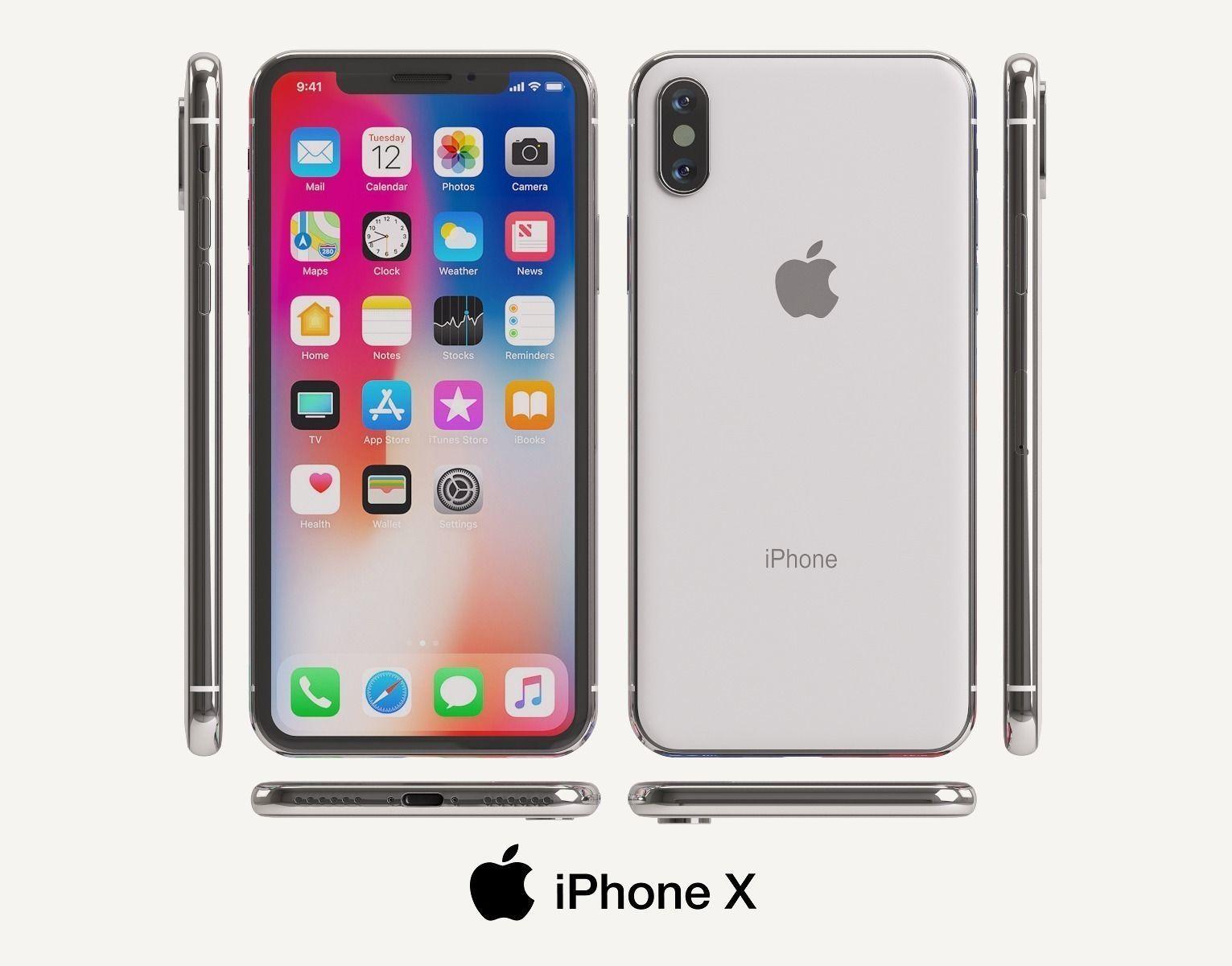 hight resolution of apple iphone x 3d model max obj mtl fbx unitypackage prefab 1