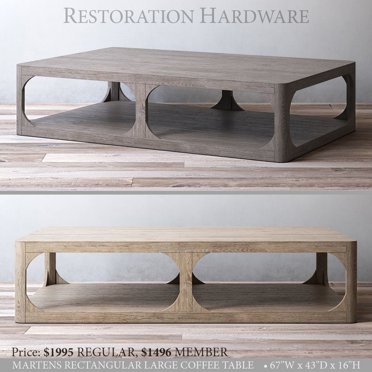 rh martens rectangular large coffee table 3d model