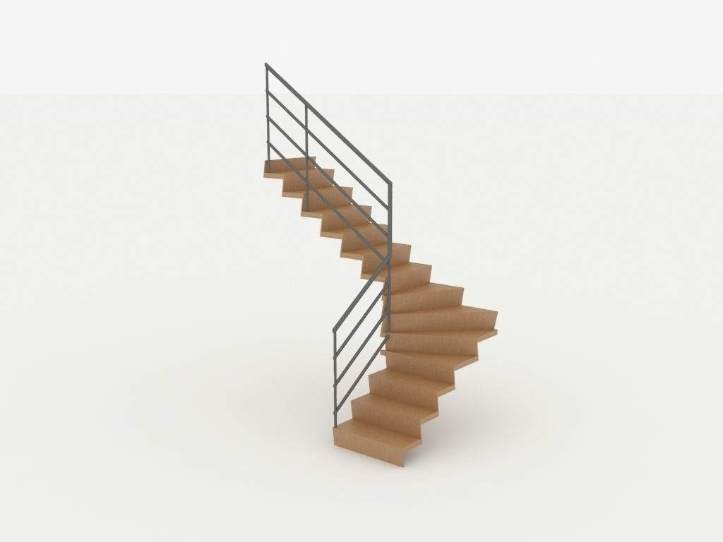 Wooden Twisted Stairs 3d Cgtrader
