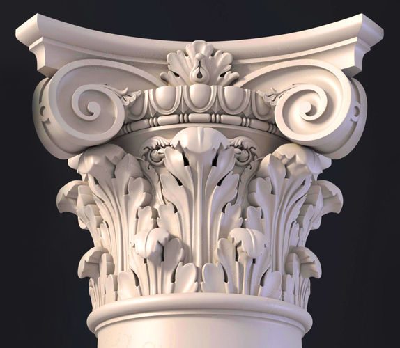 3d Models Decorative Plaster The Ionic Column Capital - MVlC