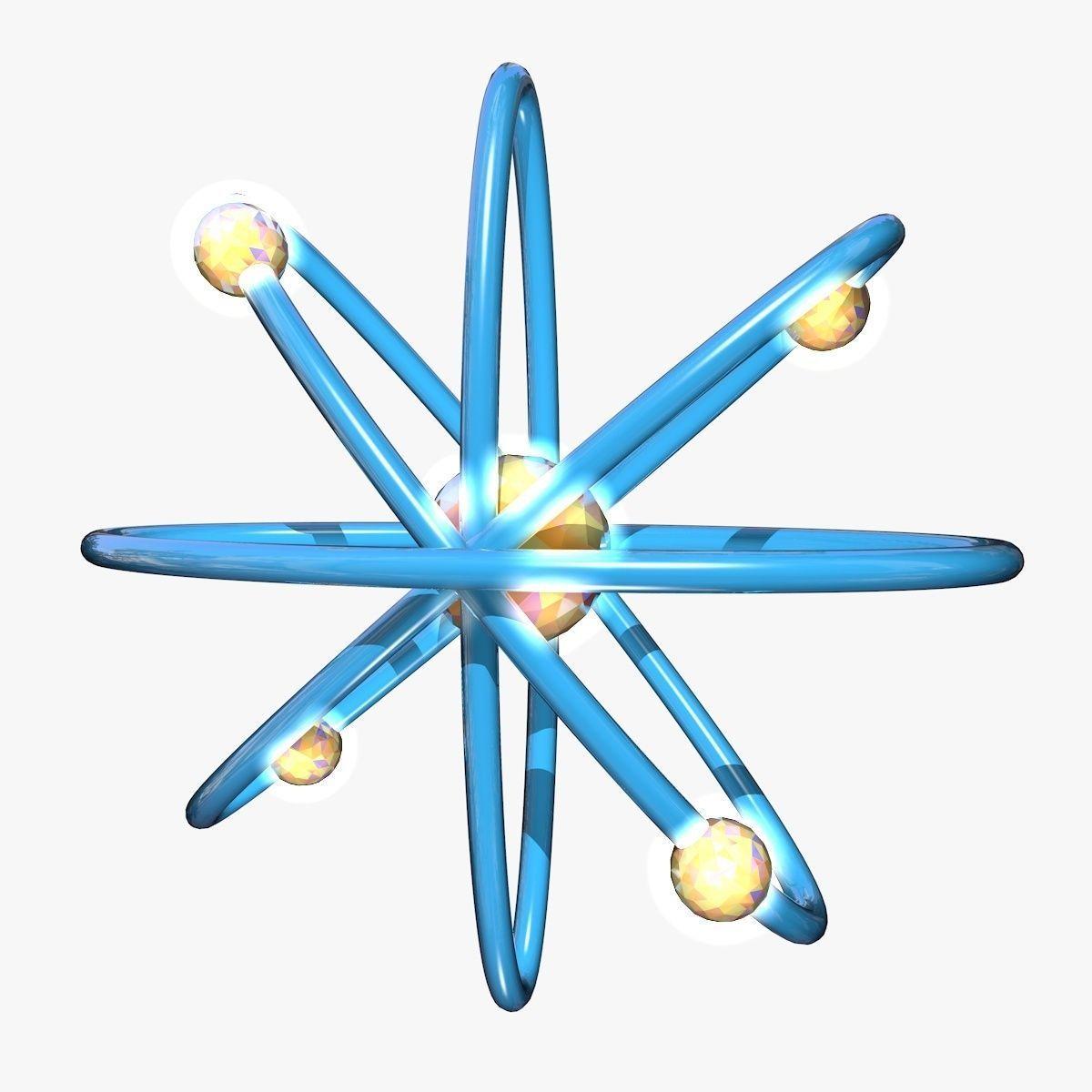 hight resolution of  blue atom model 3d model obj mtl 3ds fbx c4d dxf stl 2