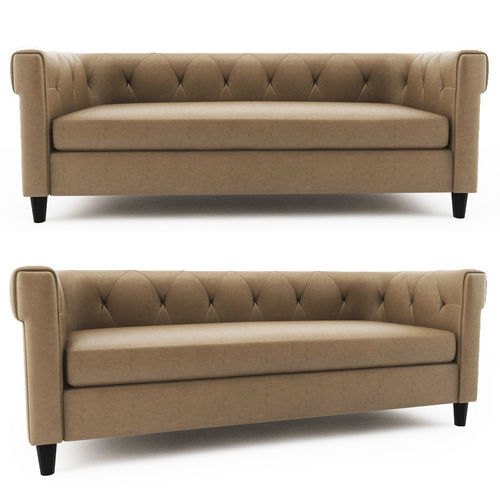 tufted leather sofa cheap art van alfresco chaise chester west elm 3d model cgtrader