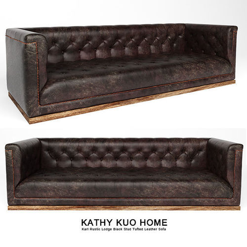 tufted leather sofa cheap madeline apartment karl rustic lodge black stud 3d model max obj mtl