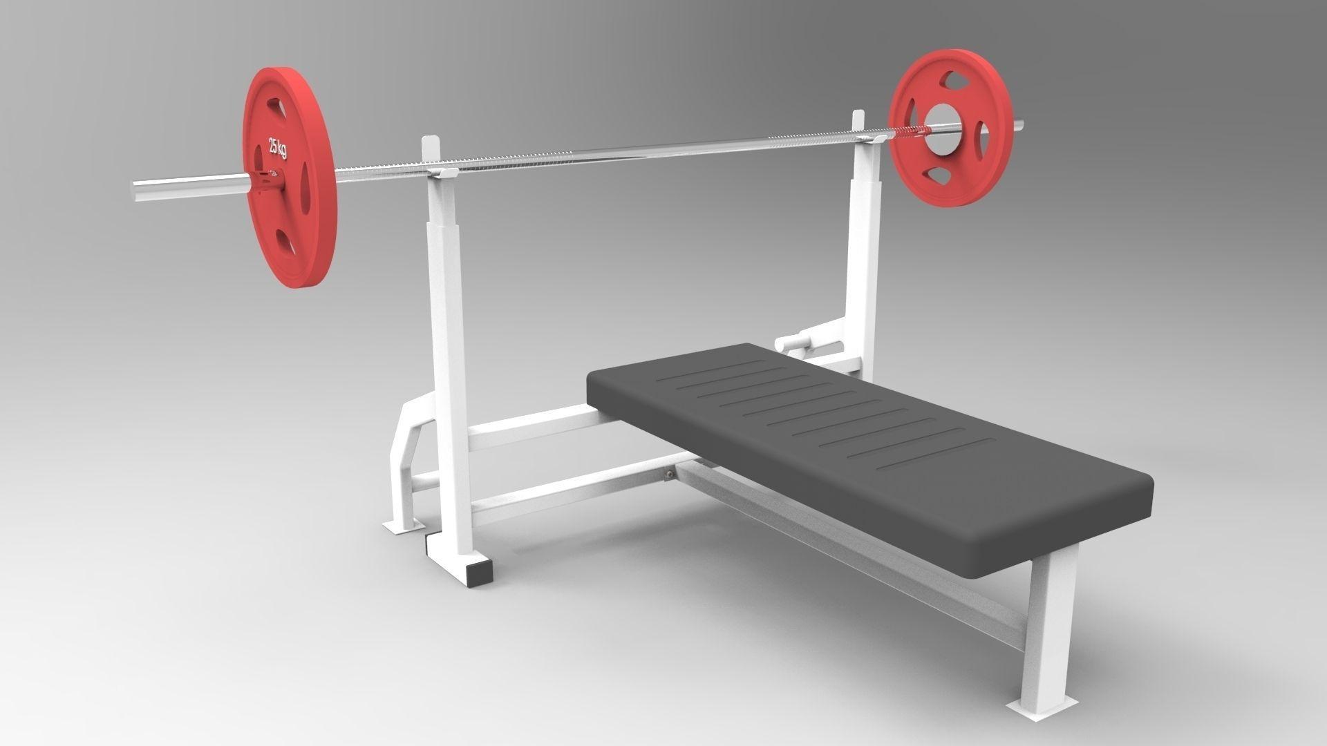 gym chest chair teacher rocking press bench barbell 3d model sldprt sldasm