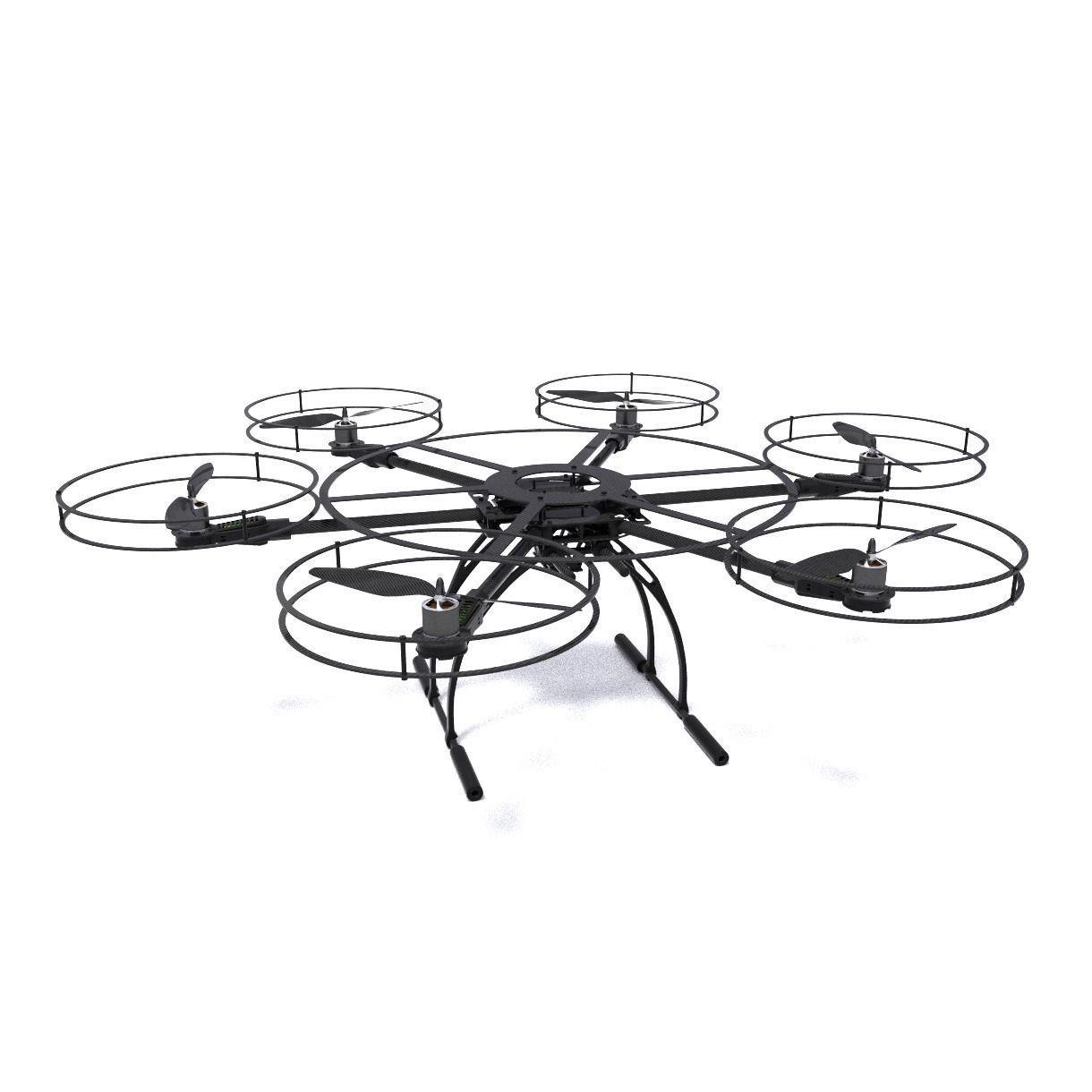 Hexacopter Drone 3d Model Obj Fbx Dxf Stl Blend