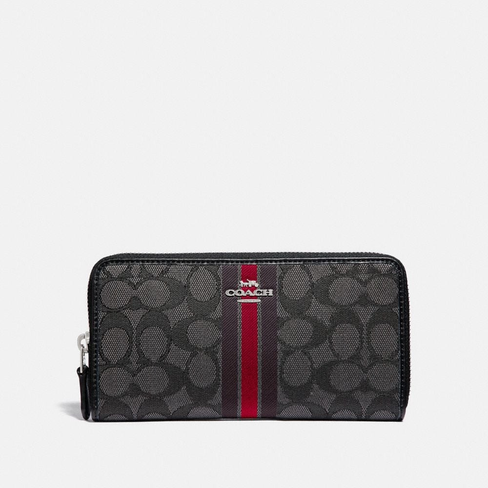 COACH® Outlet | Accordion Zip Wallet In Signature Jacquard With Stripe