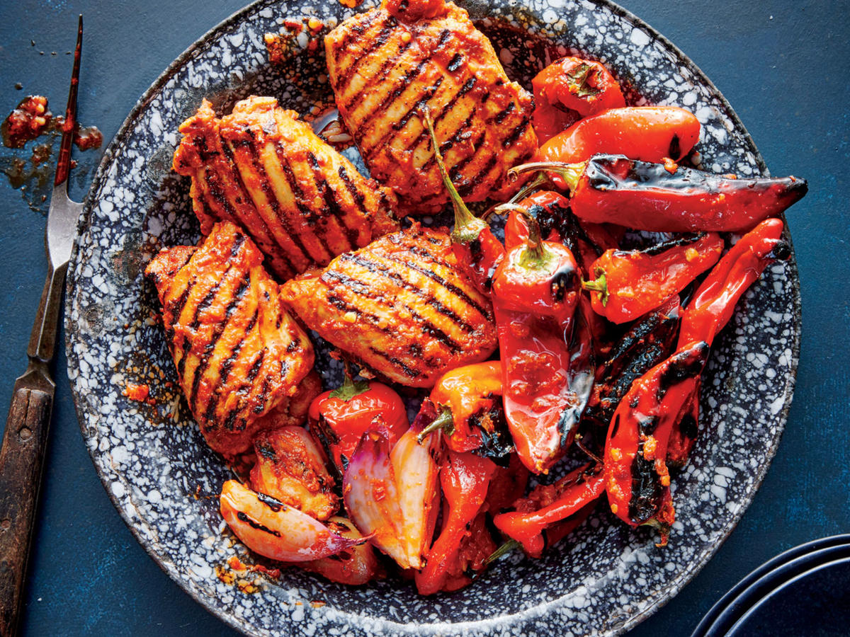 Grilled Red Curry Chicken And Bell Peppers Recipe