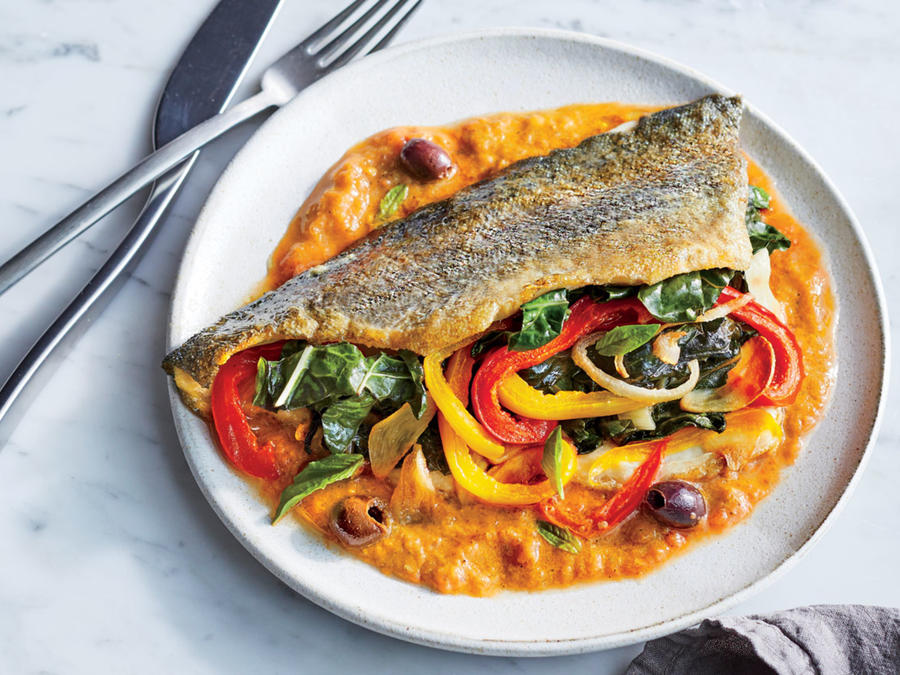 Chard-Stuffed Trout With Charred Tomato Vinaigrette