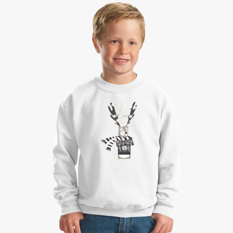 Christmas Bright Reindeer Kids Sweatshirt